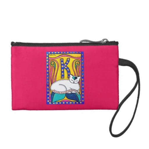 Peace and Love Valentine Cat Art Coin Purse. Cat Art by Dora Hathazi Mendes, Cats of Karavella Collection. by #dorahathazi for #catlovers