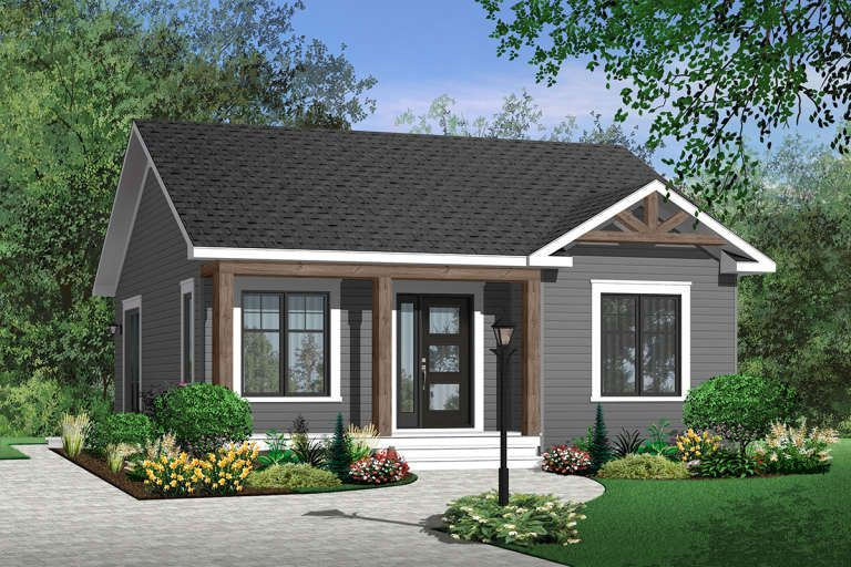 House Plan 034 00621 Country Plan 835 Square Feet 2 Bedrooms 1 Bathroom In 2020 Cottage Style House Plans Cottage Style Homes Cottage House Plans