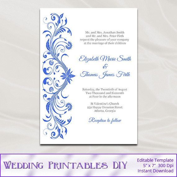 Royal Blue Wedding Invitations Template by WeddingPrintablesDiy ...