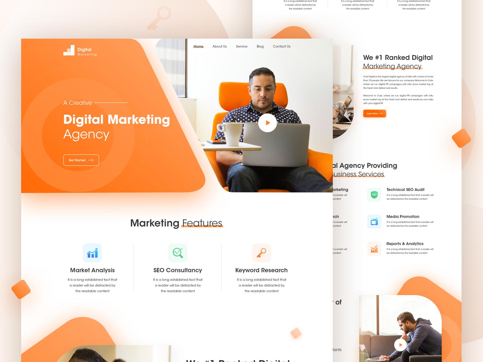 Digital Marketing Agency Landing Page Marketing Agency Website Digital Marketing Design Web Design Marketing