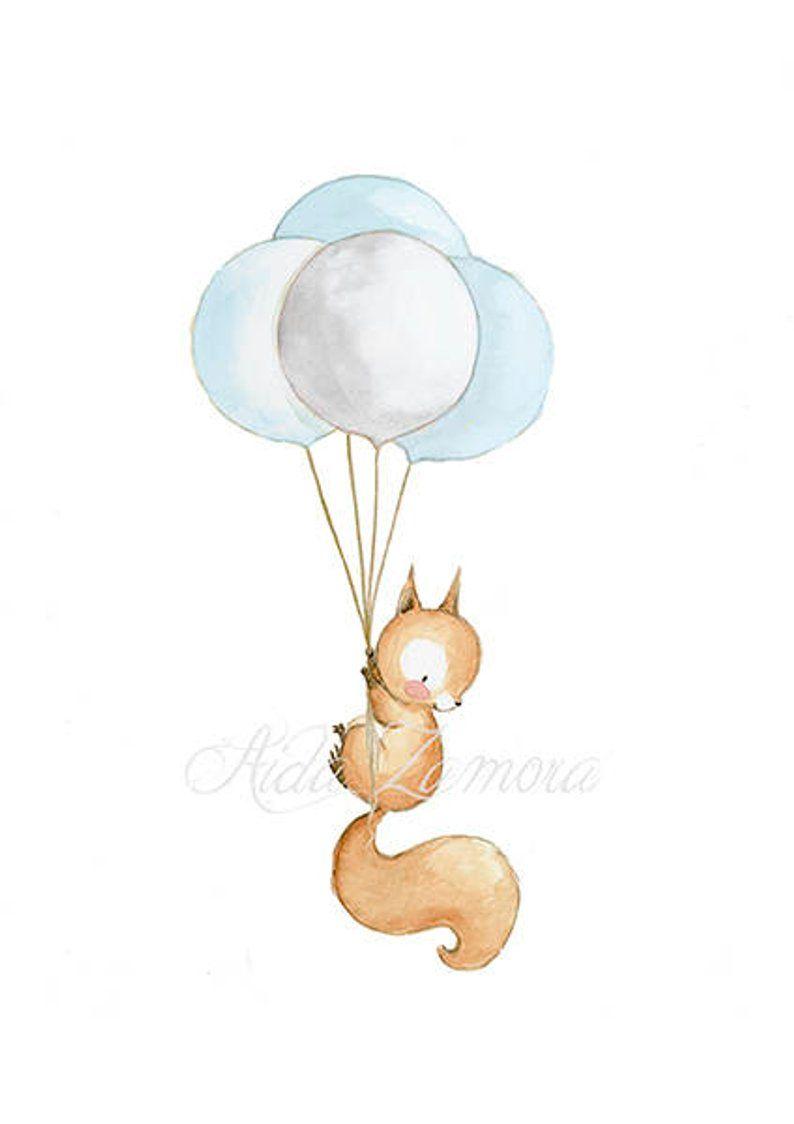 Children's Art SQUIRREL WITH BALLOONS Nursery Decor, Squirrel nursery art, Kid's Balloon Art, Nursery balloons prints, Aida Zamora.