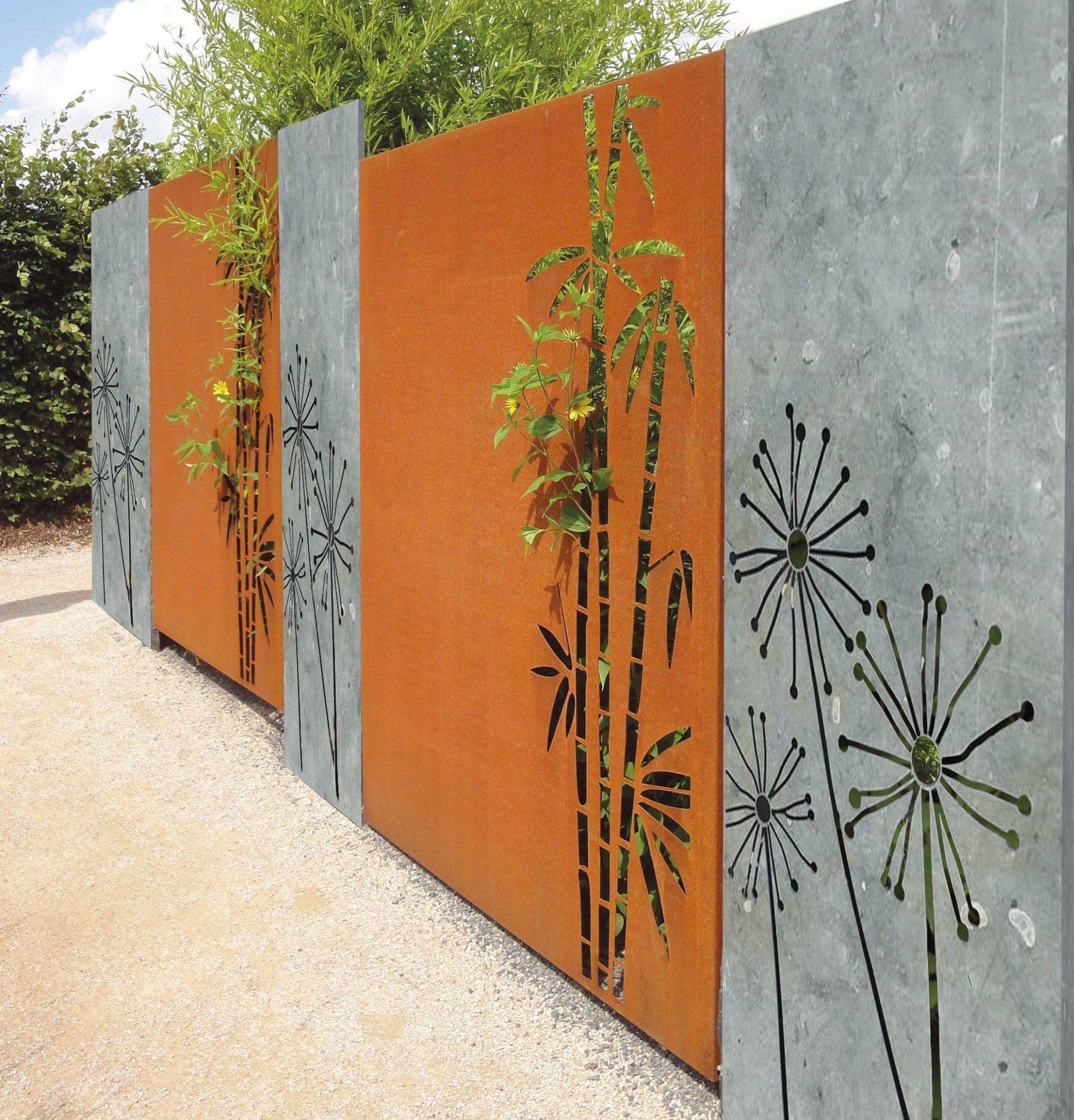 Sichtschutz Aus Corten Und Neu Im Programm Sichtschutzplatten Aus Naturstein Bei Diesem Natur Garden Wall Designs Mural Wall Art Backyard Landscaping Designs