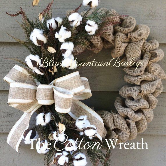 Photo of The cotton burlap wreath, cotton wreath, summer wreath, front door wreath, cotton ball