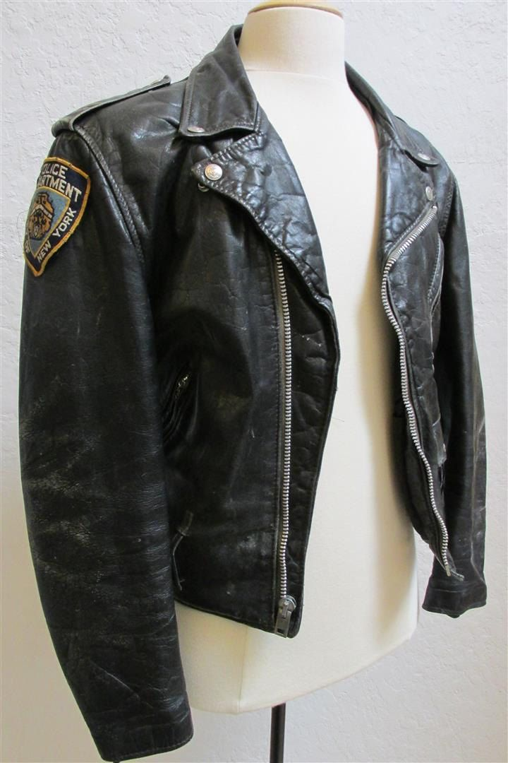 Vintage Perfecto By Schott Steerhide Leather Motorcycle Police Jacket Size 44 Police Jacket 1950s Fashion Menswear Jackets