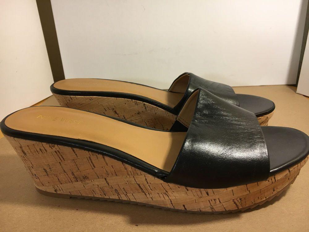 3a8c354349f Nine West Confetty Size 10M Wedge Sandals Black Leather Platform Cork Open  Toe  NineWest  Confetty