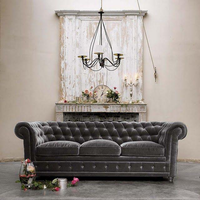Greigedesign Seat Grey Velvet Sofa Chesterfield 50180417 4via