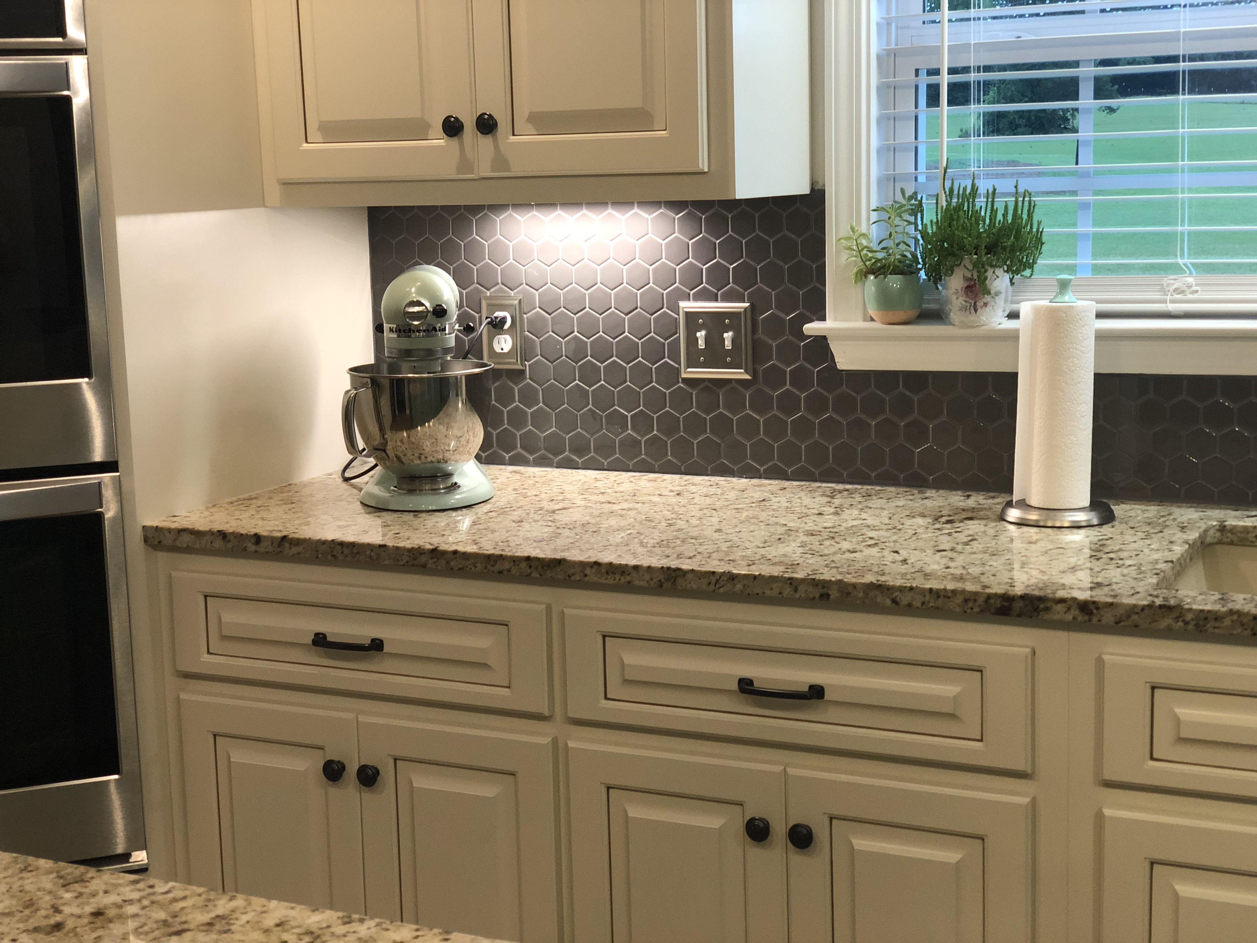 Cream cabinets with charcoal gray backsplash   Grey ...