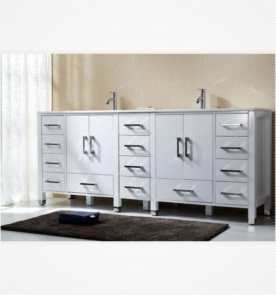 Anziano 82 Inch High Gloss White Bathroom Vanity, Double Sink W/ Quartz Top