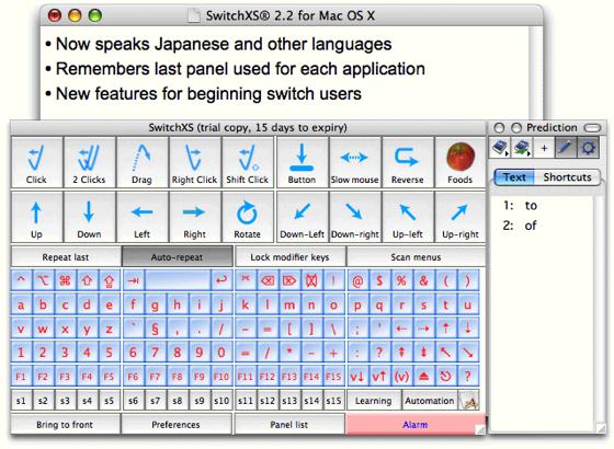 SwitchXS Assistive technology, Mac os, App