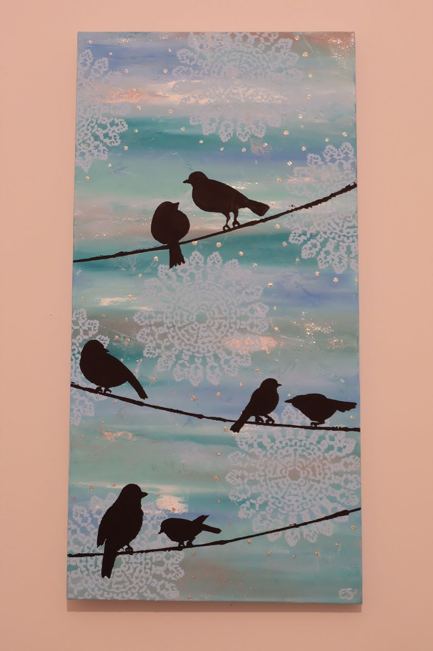 Birds on a wire. Painted with acrylic. | For the Home | Pinterest ...