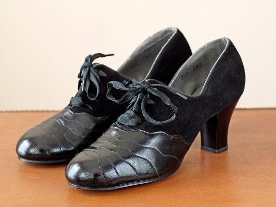 1920s Shoes Deadstock / 20s Leather and Suede by WearAreTheyNow, $104.00