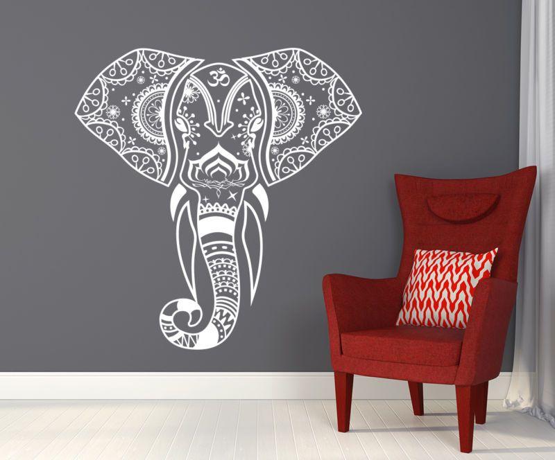 Mandala Elephant Wall Decals Hippie Decal Yoga Vinyl Sticker Boho