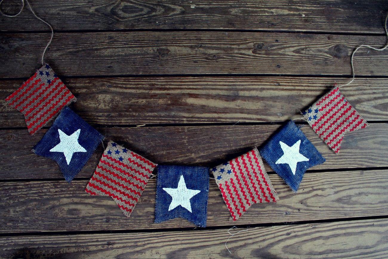 American Flag Banner, Patriotic Banner, Patriotic Bunting, 4th of July Banner Garland, Patriotic Decor, Burlap, Burlap Bunting Garland by BurlapBannerBoutique on Etsy