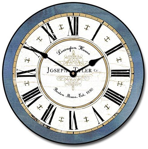 Vermont Blue Wall Clock, Available in 8 sizes, Most Sizes Ship 2 - 3 days, Whisper Quiet.