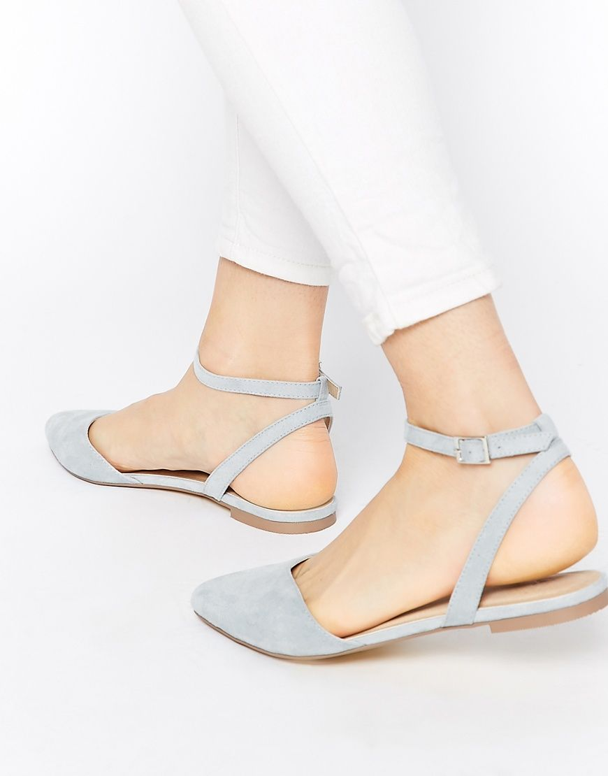 Blue Ankle Buckle Sandals for Fashion Outfits. Pointed flat shoes for summer  street style. 30 Closed-Toe Shoes for Summertime  Glamour.com 9b7f01c245a1
