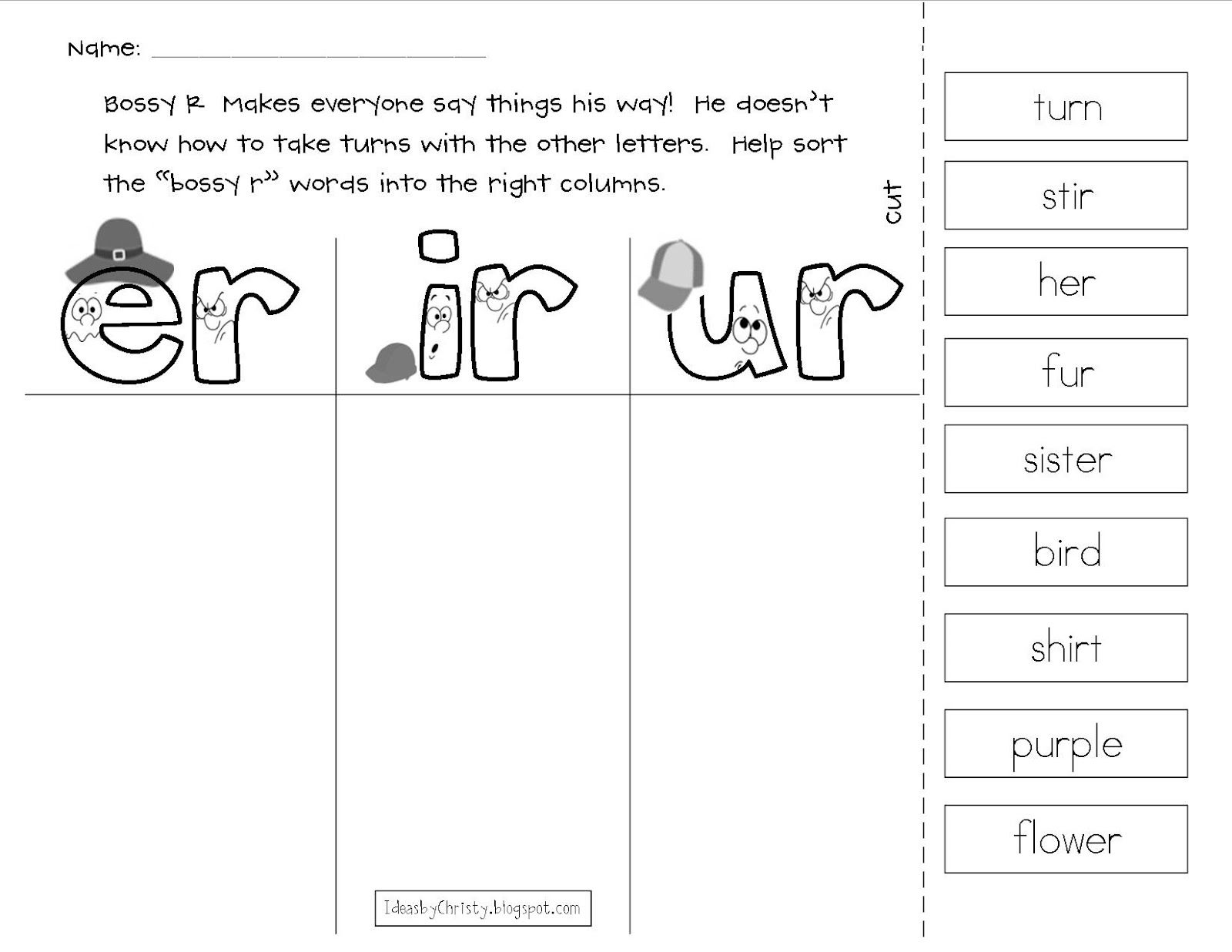 worksheet Bossy R Worksheets ideas by christy bossy r pairs er ir ur pinterest ur