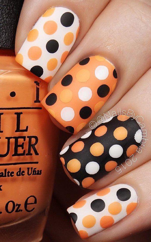 matte nail polish ideas polka