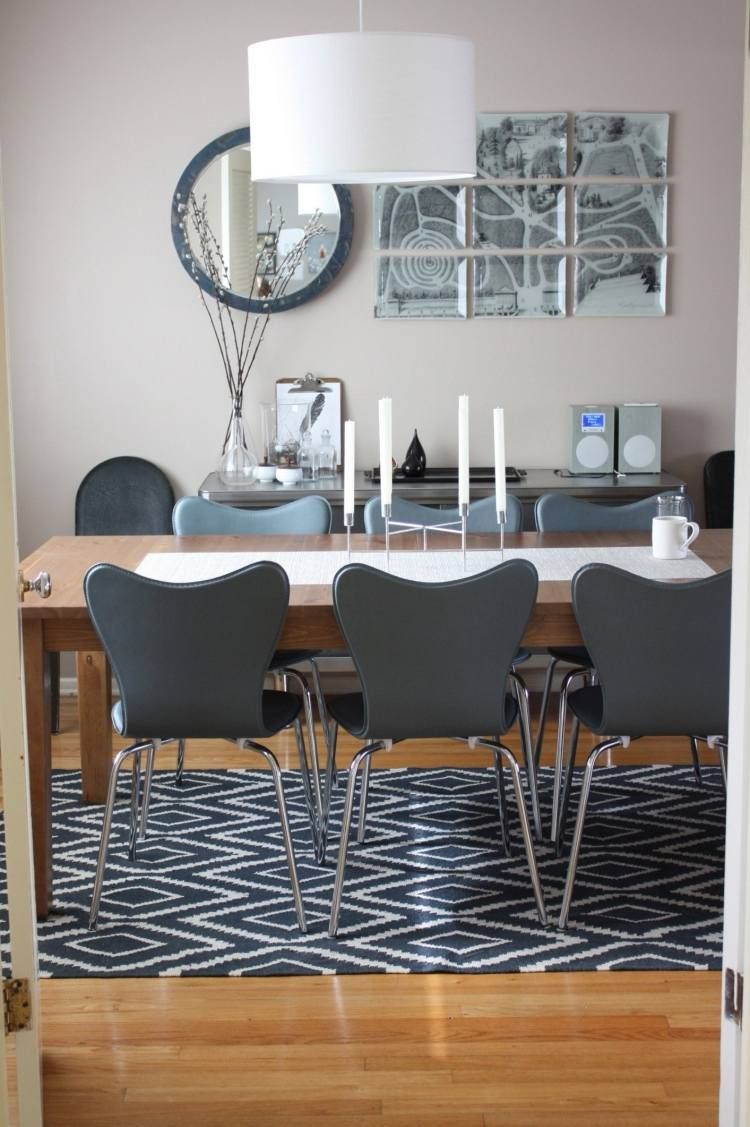 modernes esszimmer mit kelim teppich unter dem tisch | teppiche ... - Teppich Ideen