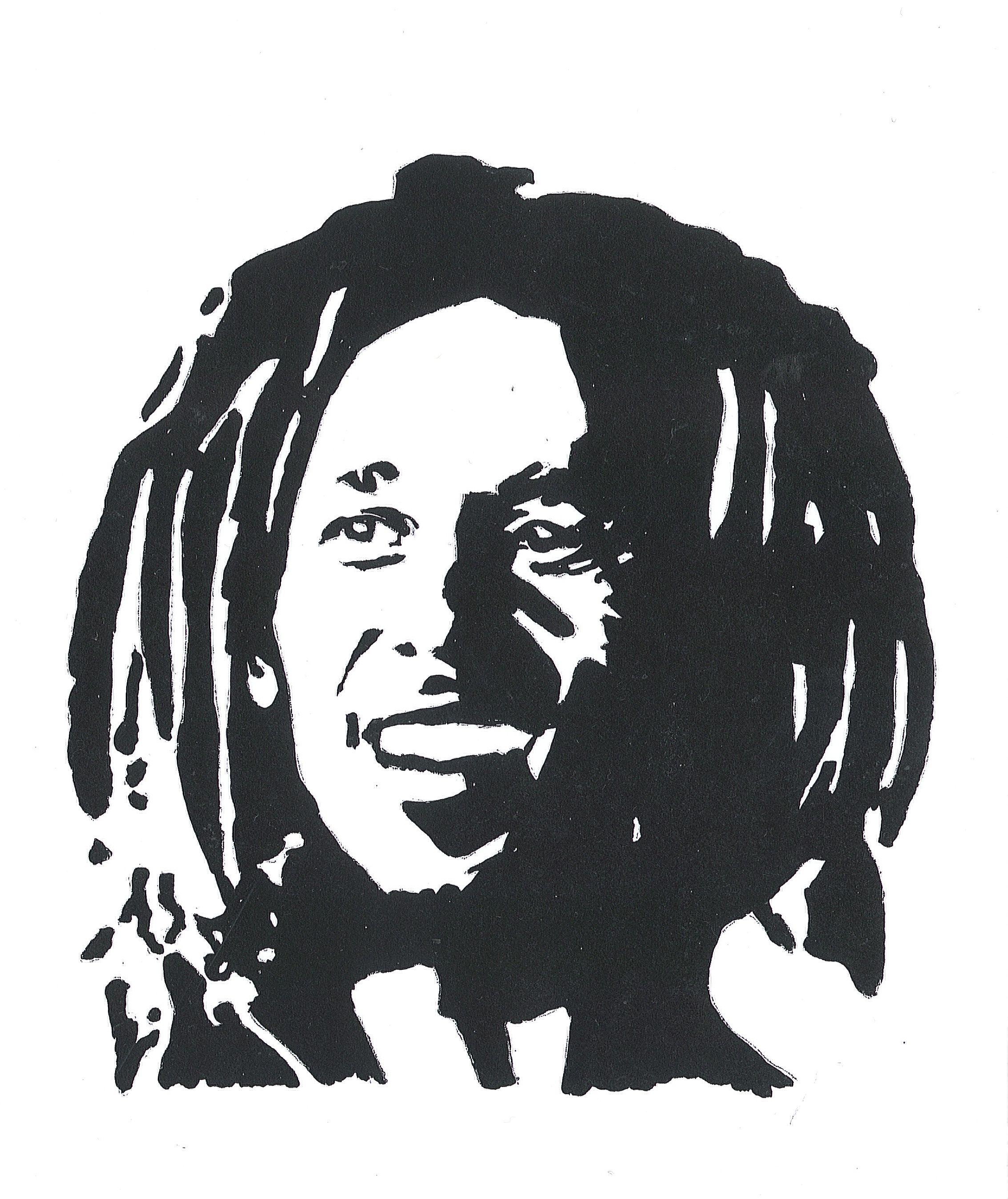 bob marley stencil Google Search Noir et blanc, Dessin