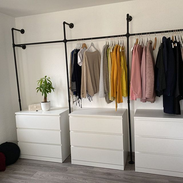 Clothes rack wardrobe pipes in industrial design made of black water pipes - suitable for dressers