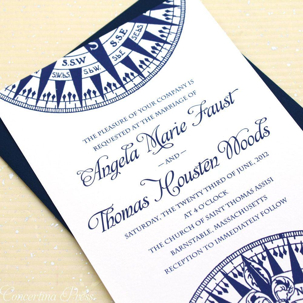 Nautical Wedding Invitations, Compass Wedding Invitation
