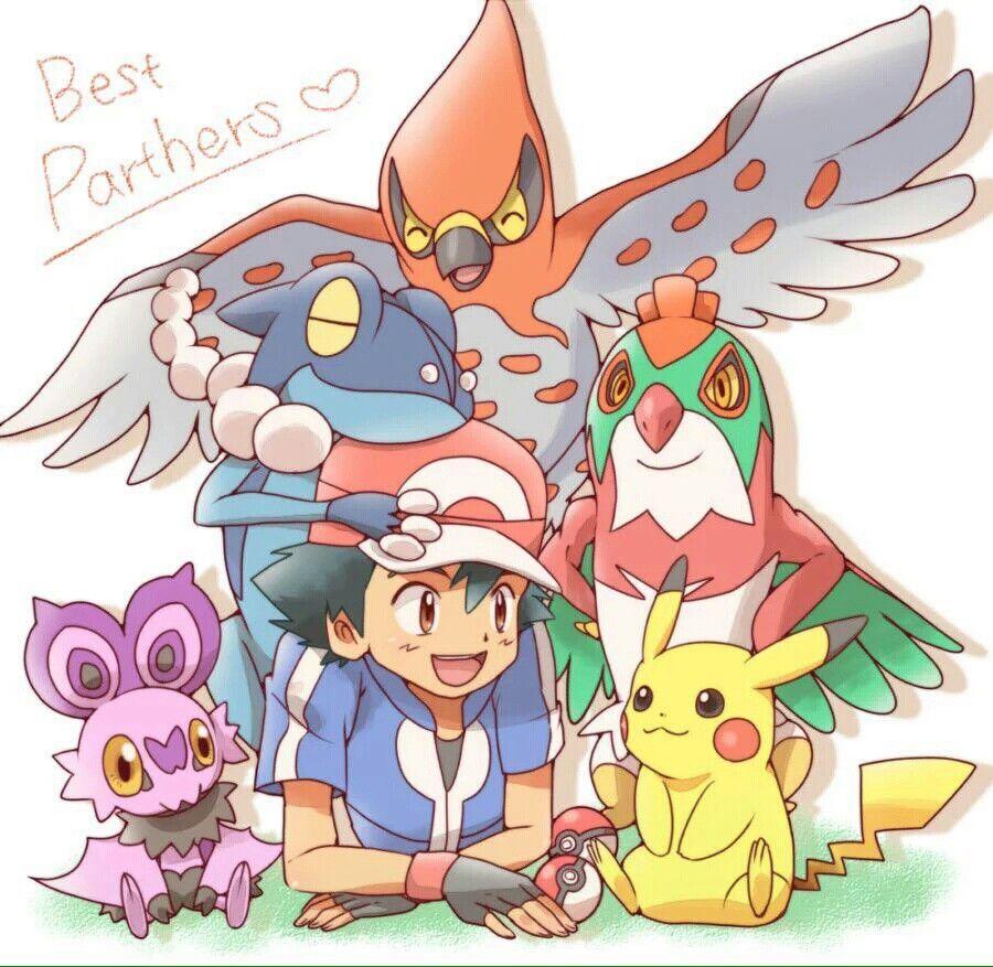 ash ketchum and pikachu with their kalos pokémon team i