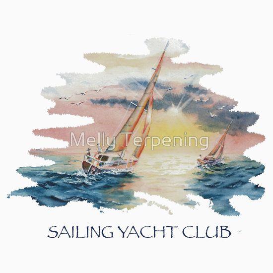 Sailing Yacht Club Blue Words Color #sailingyachtclub #sailingyachtclubtshirt #nauticaltheme#sailinglovers
