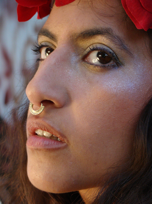 Gold Septum Septum Ring Tribal Nose Ring Gold Nose Hoop Indian