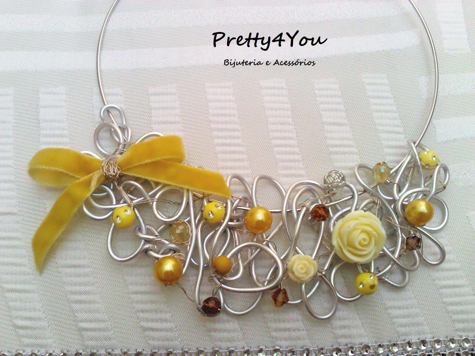Maxi Colar Amarelo- Pretty4You Bijuteria