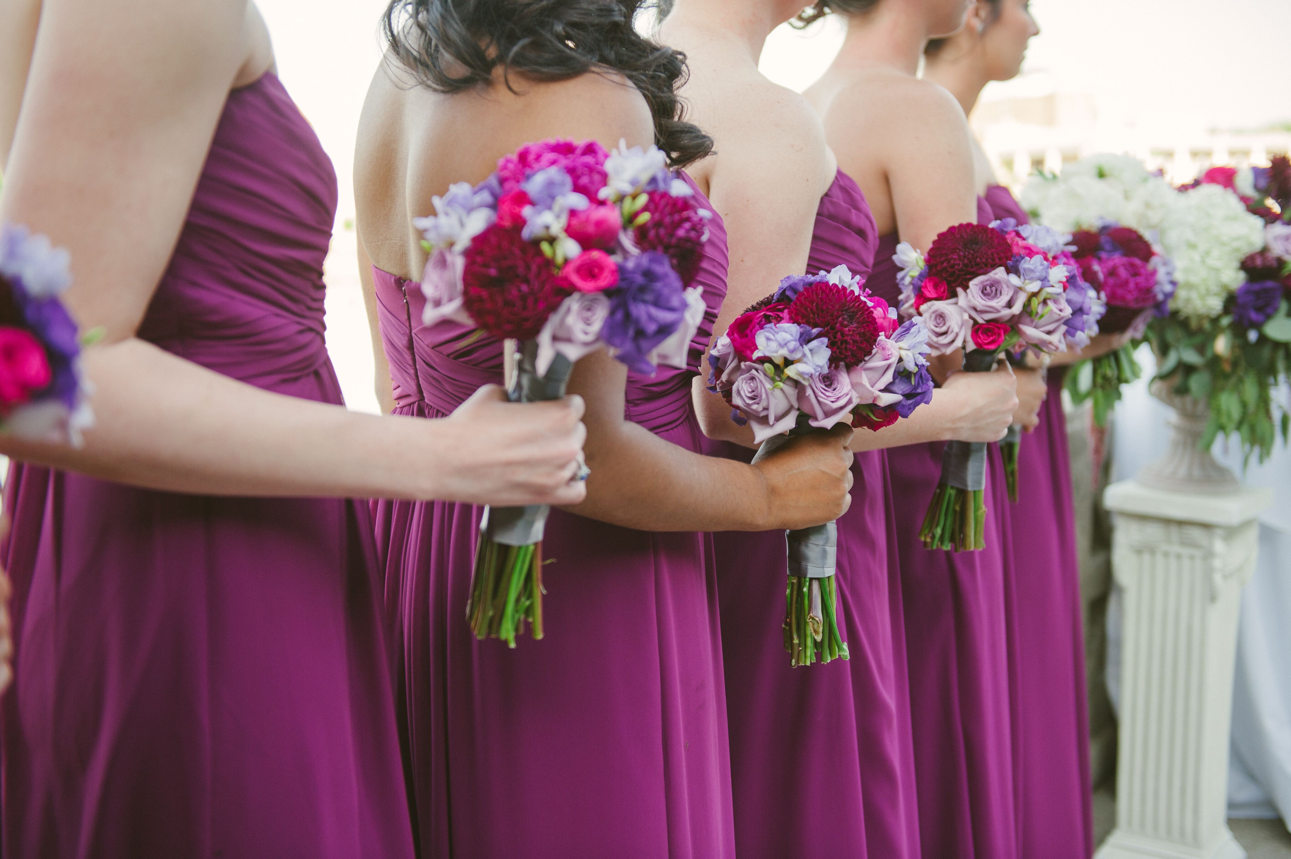 Sangria bridesmaid dresses, purple, fuchsia, lavender, burgundy ...