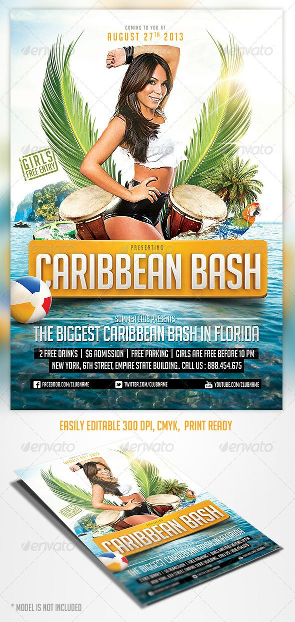 Caribbean Party Flyer Template | Caribbean Party, Party Flyer And