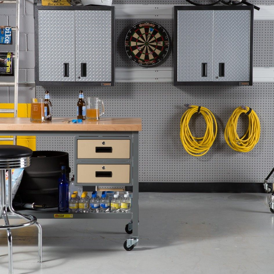 Glittering Newage Diamond Plate Garage Cabinets With Home