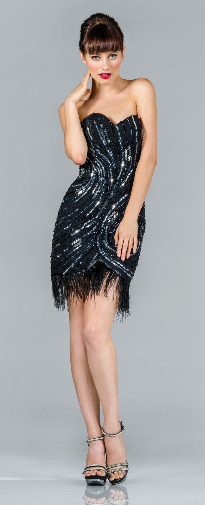 short strapless sequin cocktail dress