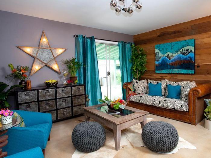 Welche Farbe Passt Zu Braun Im Interieur, Blaue Farben, Graue Wand, Stern  Als