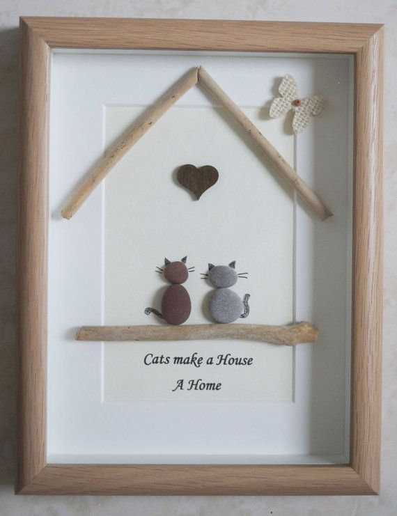 Pebble Art framed Picture Cats make a House a Home by Jewlls4u