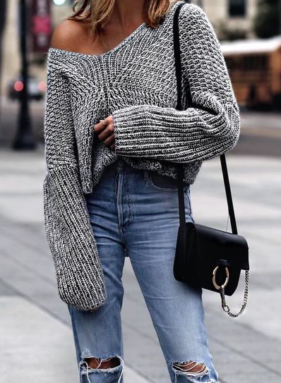 a6d508a01626 Off-the-Shoulder Sweaters to Shop Now Sweater And Jeans Outfit