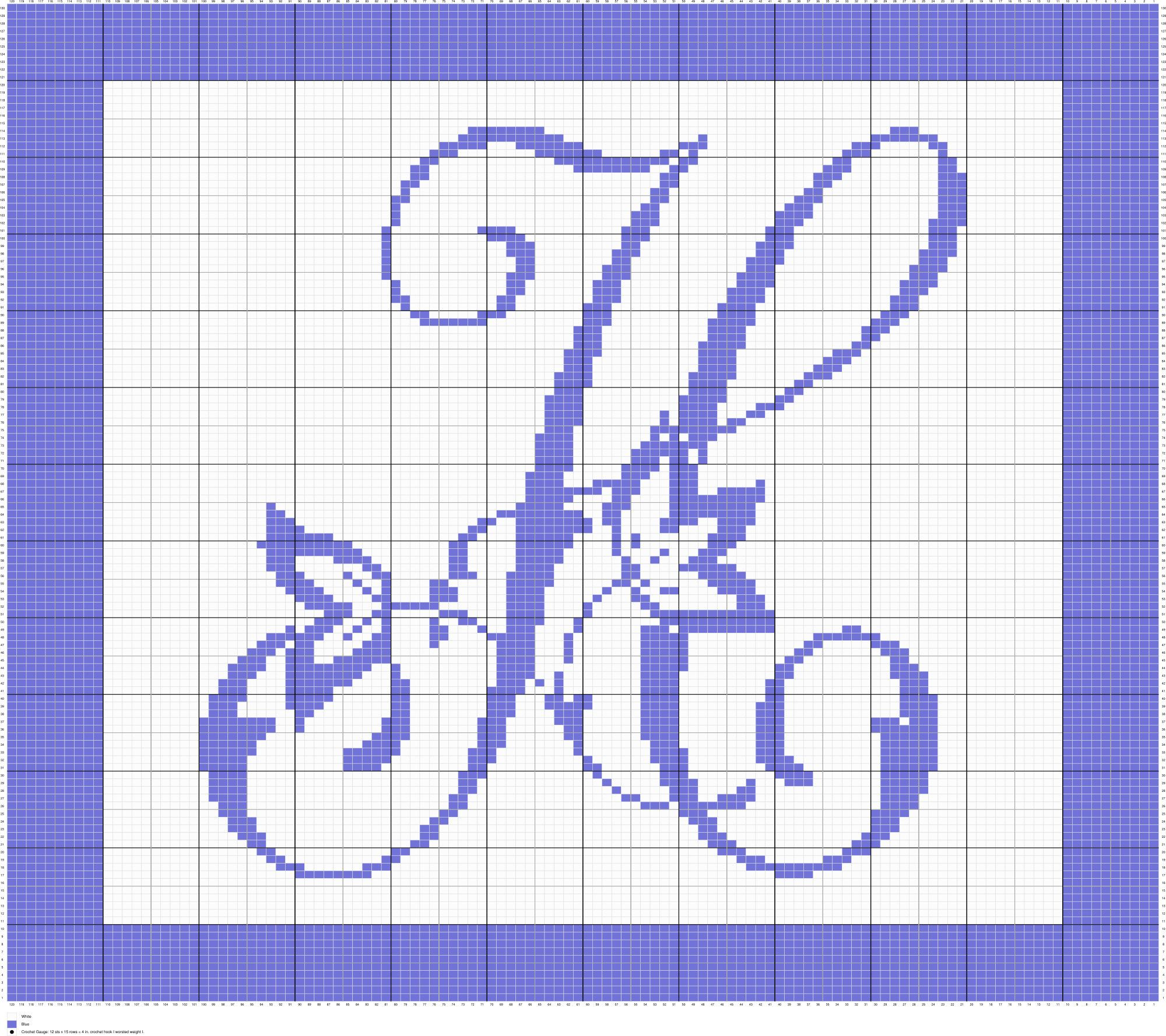 Crochet Monogram Letter H Graph, Crochet, Knit, Cross Stitch Chart ...
