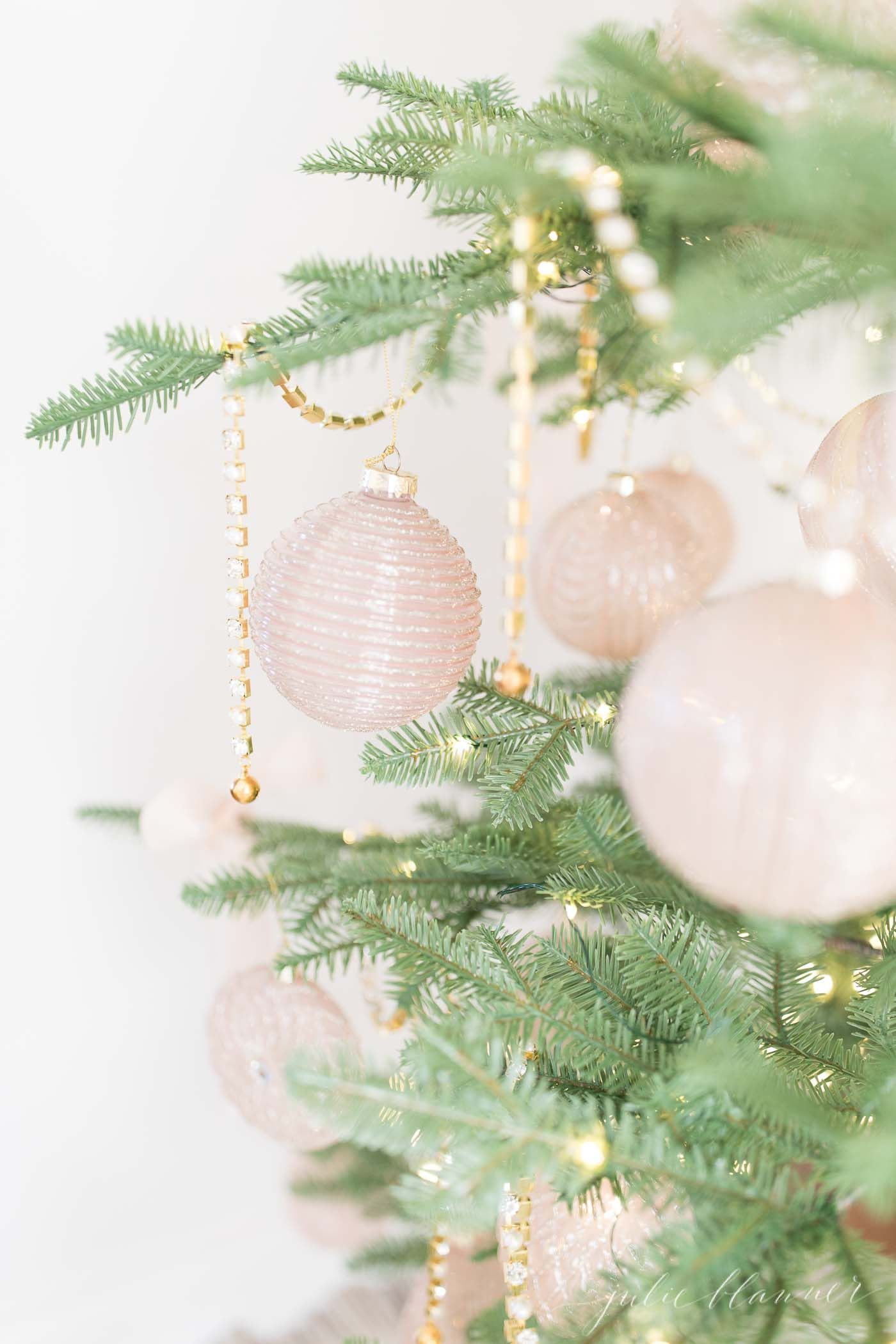Skinny Tree With Pink Ornaments And Gold Gl Jeweled Garland