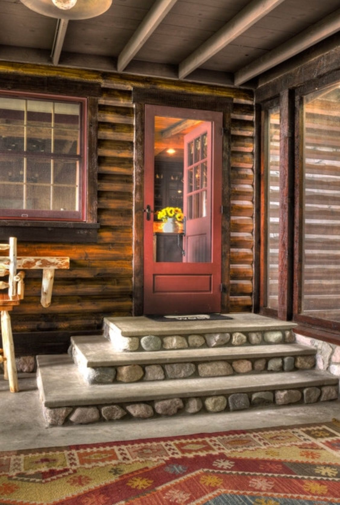 Pin By Nielsen Shipping On Exterior Porch Steps Cabins And Cottages Rustic Cabin