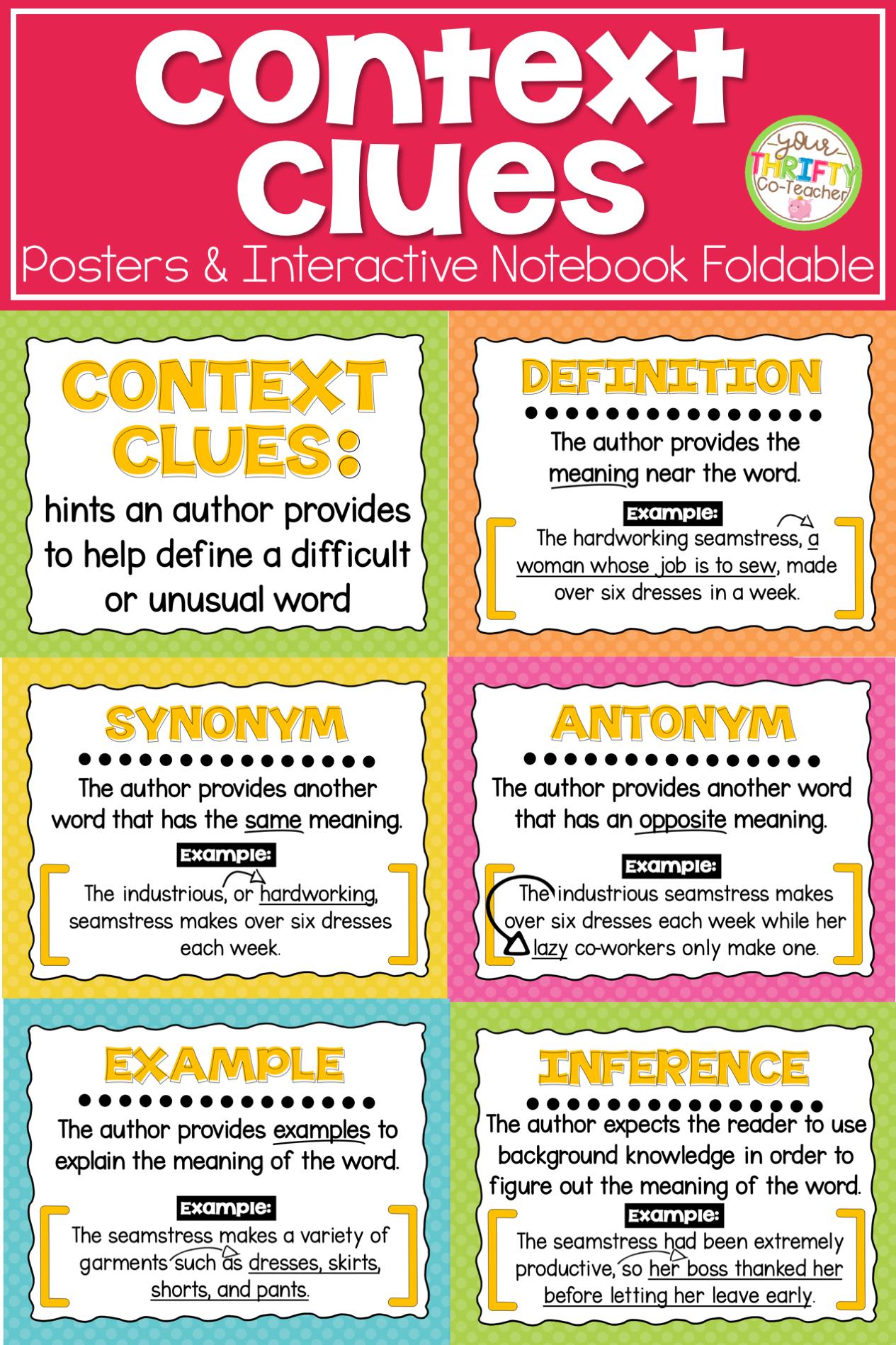 Context Clues Posters Context Clues Activities