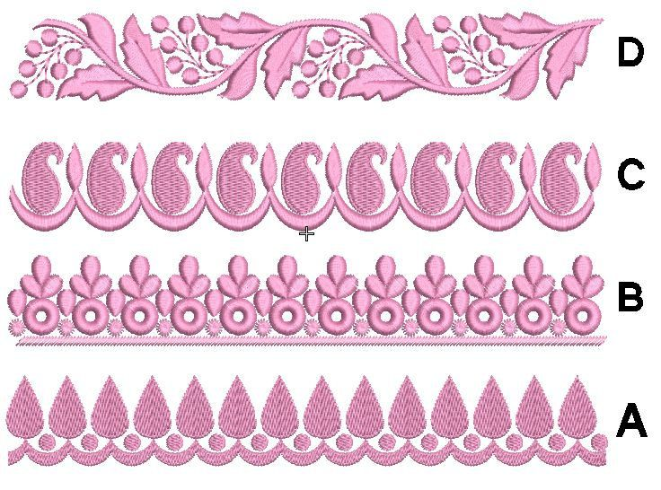 Lace Machine Embroidery Design Set Of 4 Border Machine Embroidery