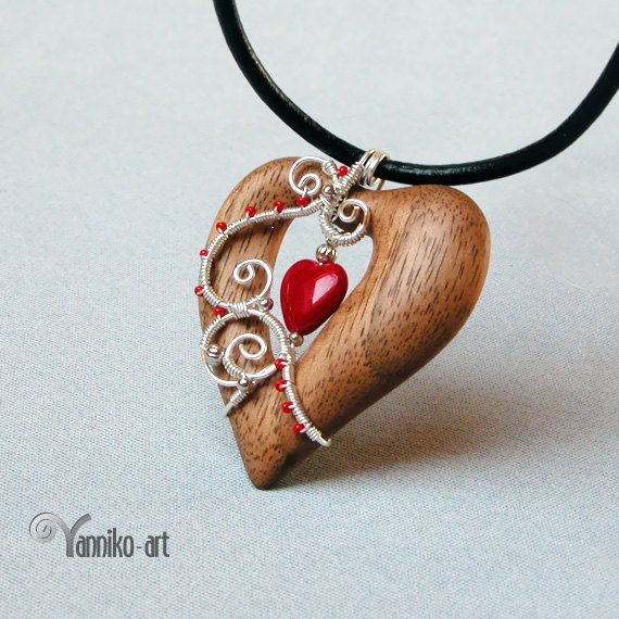 Heart wooden pendants from different woods with red glass bead heart wooden pendants from different woods with red glass bead aloadofball Image collections