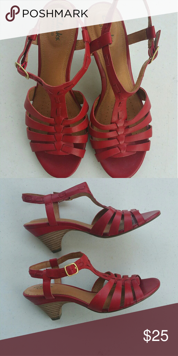 8832f8148470 Clarks red sandals In great condition. Leather. Clarks Artisan line. Clarks  Shoes Sandals