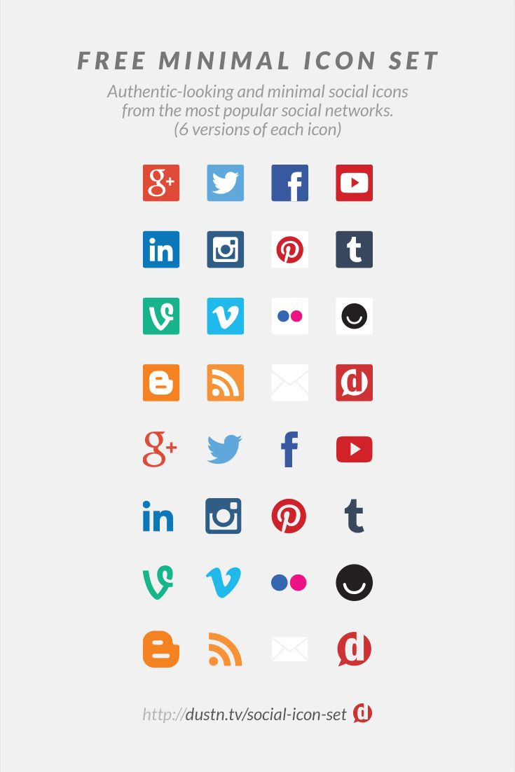 Free Social Media Icons: Flat, Minimal, Accurate and Updated
