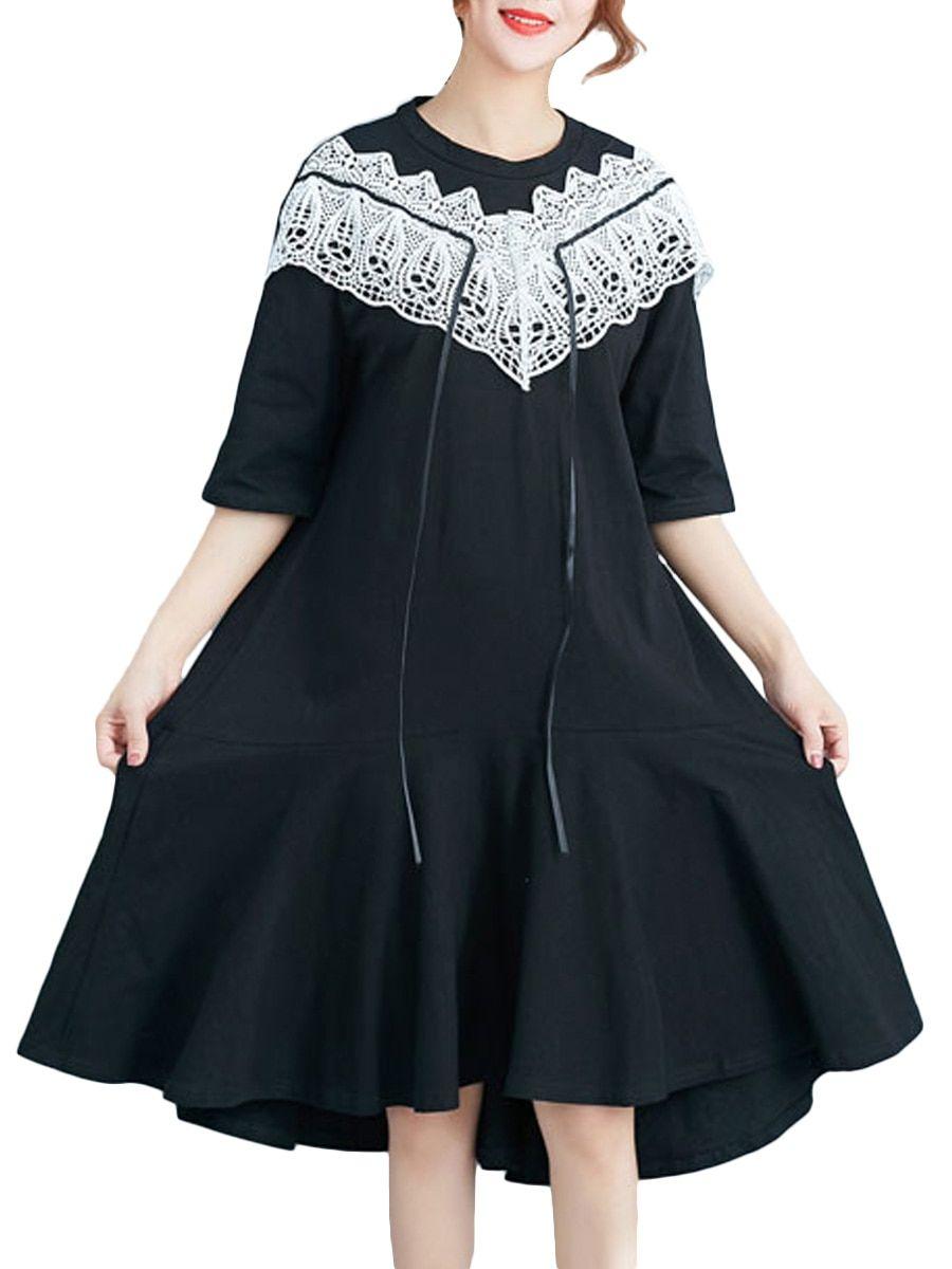 Buy Women s Dress O Neck Half Sleeve Lace Patchwork Midi Aline Dress   Women s  Dresses - e2ead3bc4