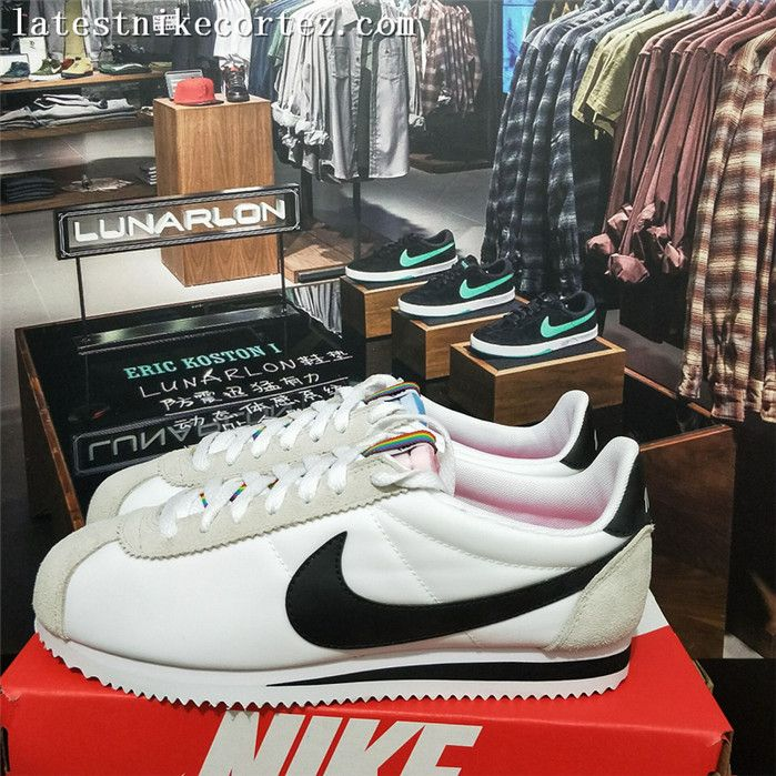 size 40 2b919 a9240 2018 Fashion Womens Nike Classic Cortez Nylon Casual Sneakers Gray White  Black