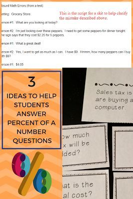 Ideas to help students know how to answer percent of a number story problems.