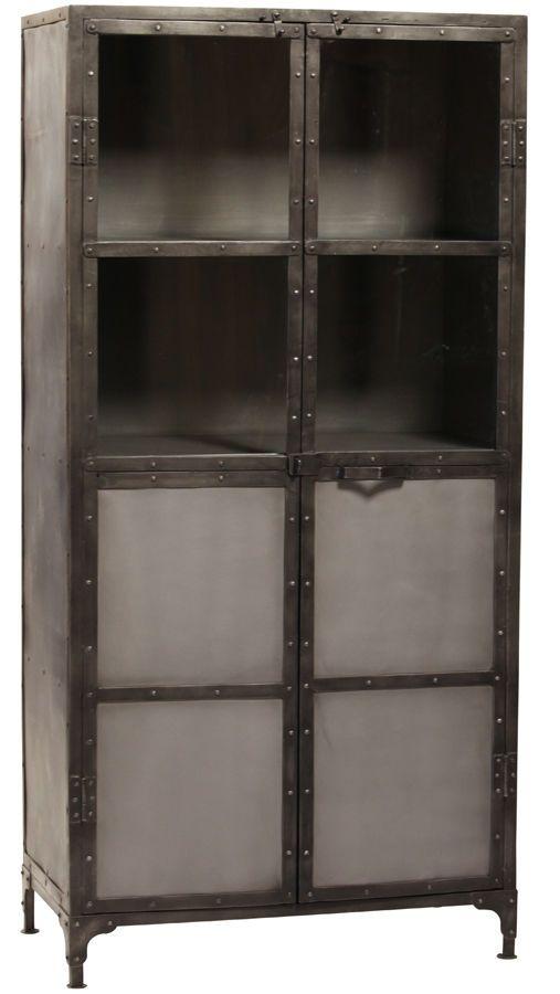 Industrial Design Steel Glass Bakers Rack Cabinet Bookcase 33
