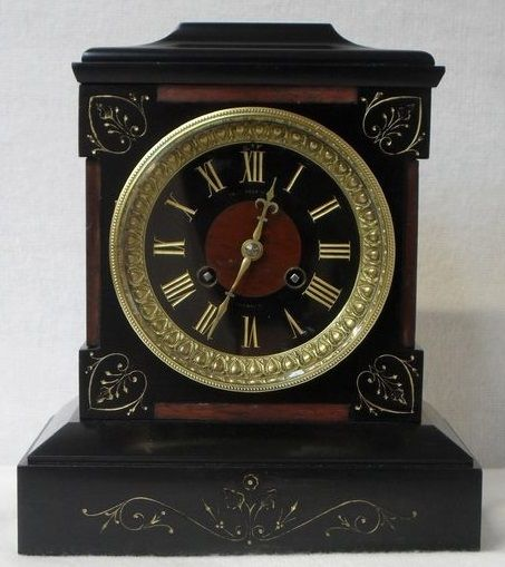 Antique Black Slate And Marble Mantel Clock Antique Mantel Clocks Mantel Clock Clock