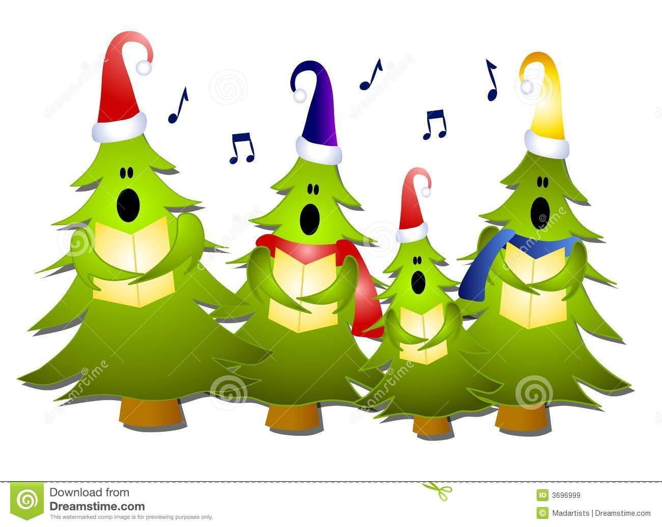 Christmas Singin.Clip Art Illustration Of A Group Of Christmas Tree Carolers